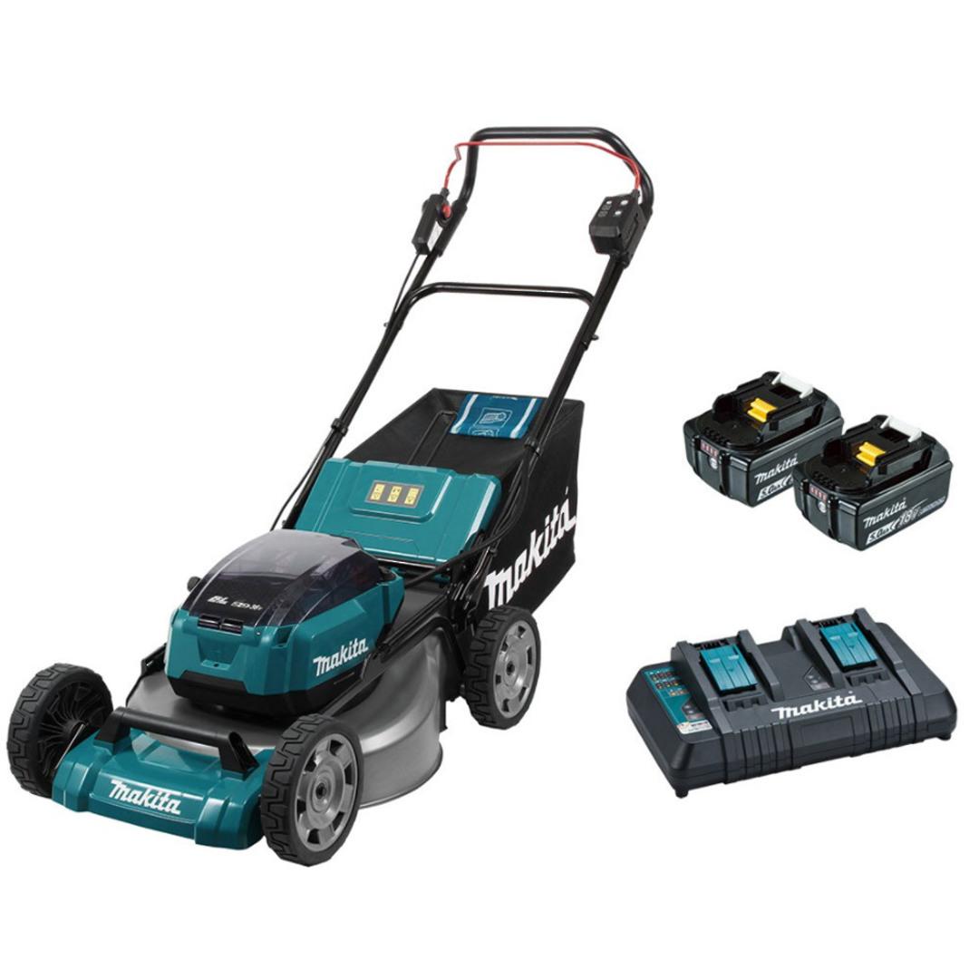 "Makita DLM535PT2 18Vx2 (36V) Brushless 530mm 21"" Metal Deck Lawn Mower, Kit (5.0Ah) image 0"