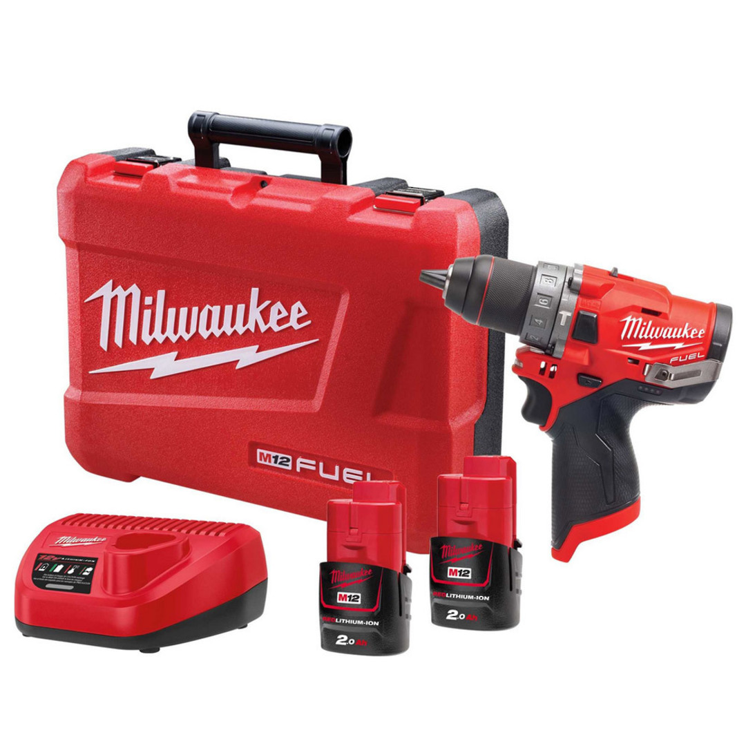 Milwaukee M12FPD-202C FUEL Hammer Drill Kit image 0
