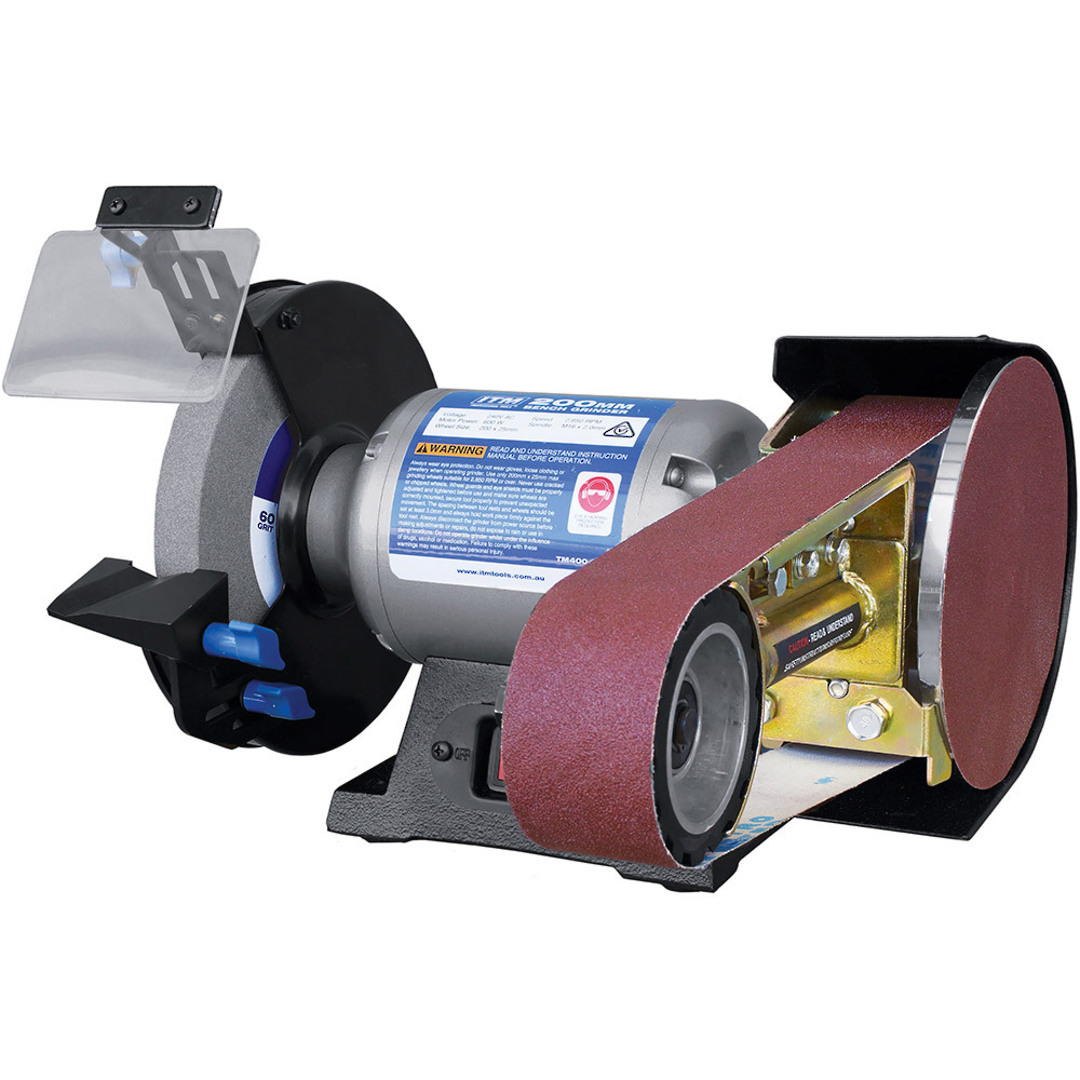 ITM 200mm Bench Grinder w\ Belt & Disc Grinding Attachment image 0