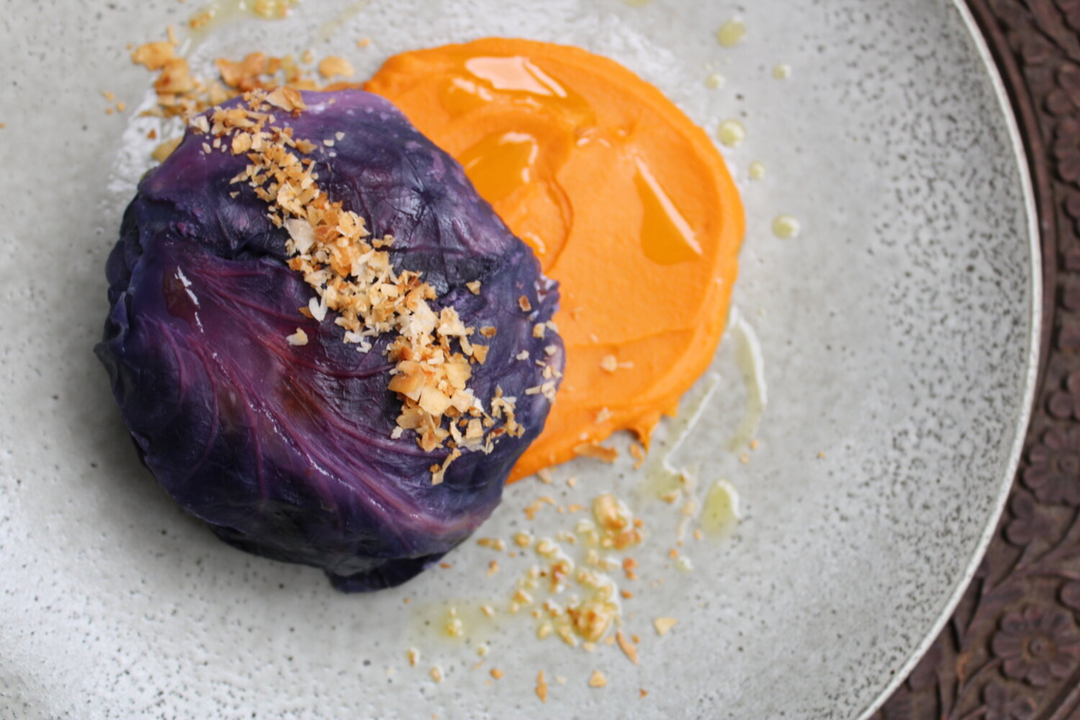 Chicken, Sundried Tomatoes, Chilli & Coconut stuffed cabbage with Kumara Puree image 0