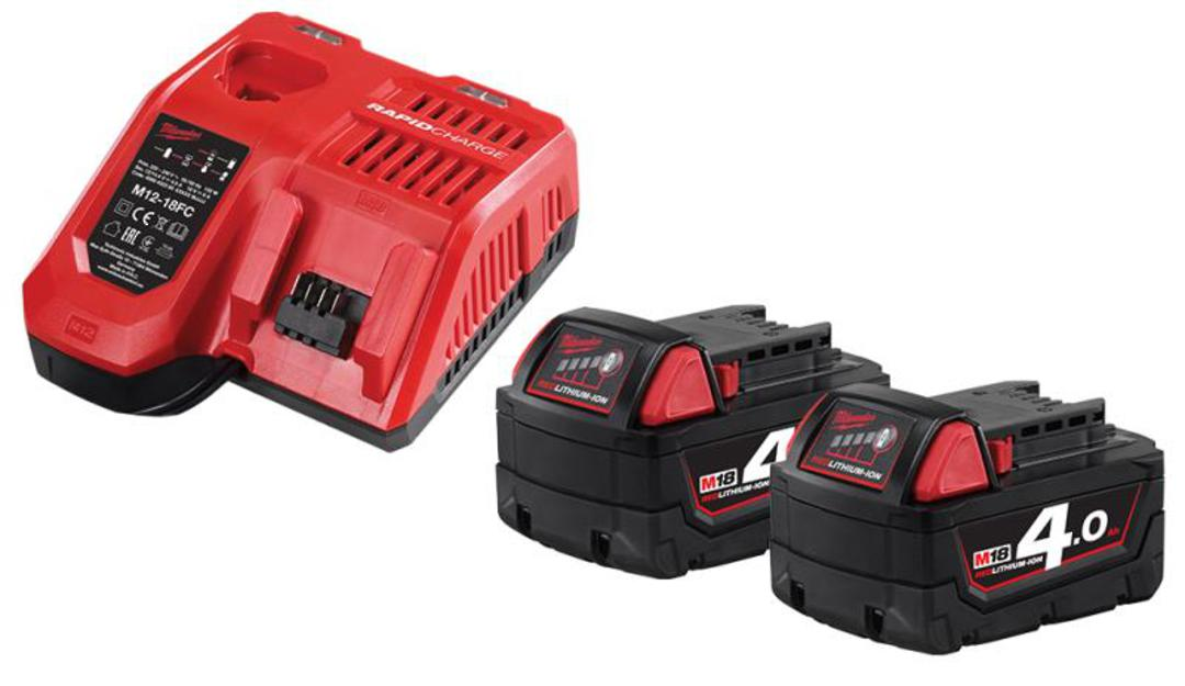 MILWAUKEE M18 4.0Ah BATTERY(2) & CHARGER image 0