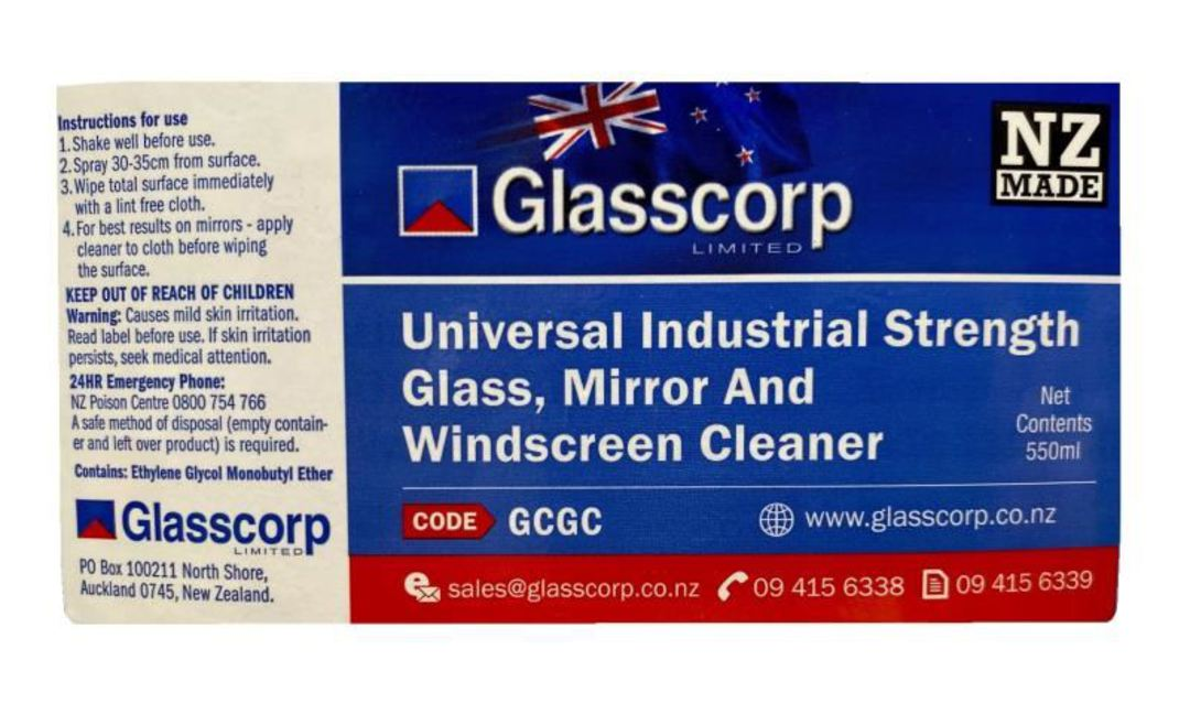 UNIVERSAL GLASS CLEANER - 550ml LABEL image 0