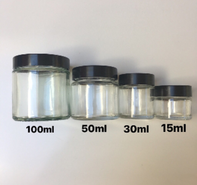 Clear glass pot - black lid: 50ml image 1