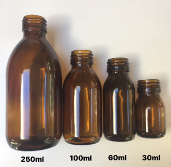 Amber glass bottle & black cap: 30ml image 1