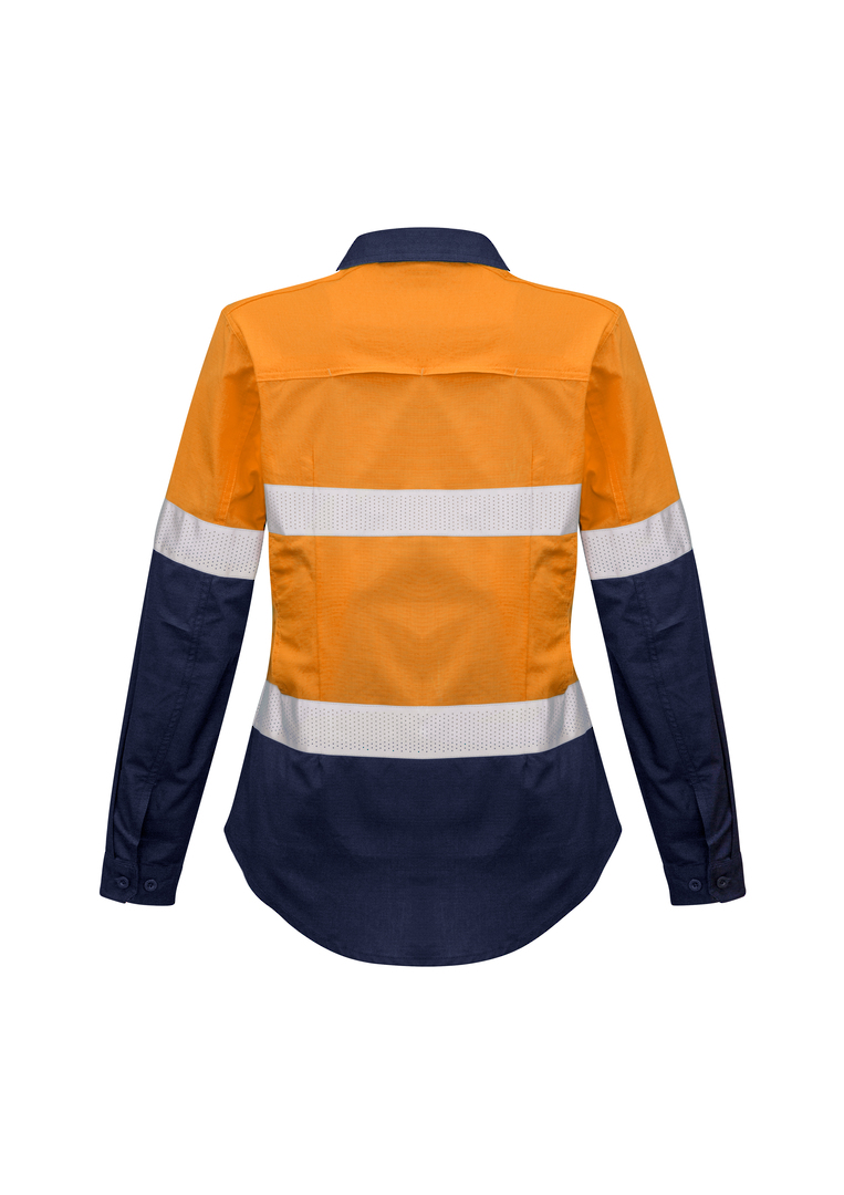 ZW720 Womens Rugged Cooling Taped Hi Vis Spliced L/S Shirt image 3