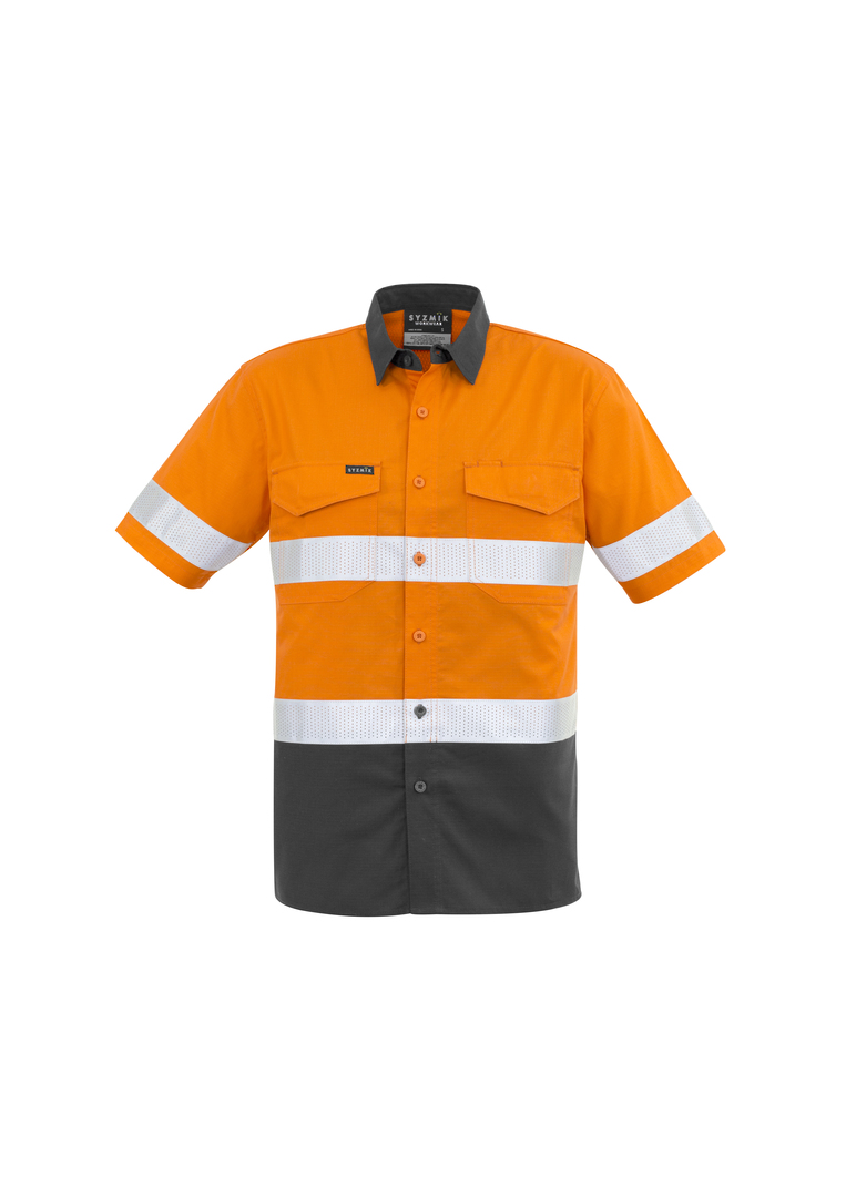 ZW835 Mens Rugged Cooling Taped Hi Vis Spliced S/S Shirt image 2