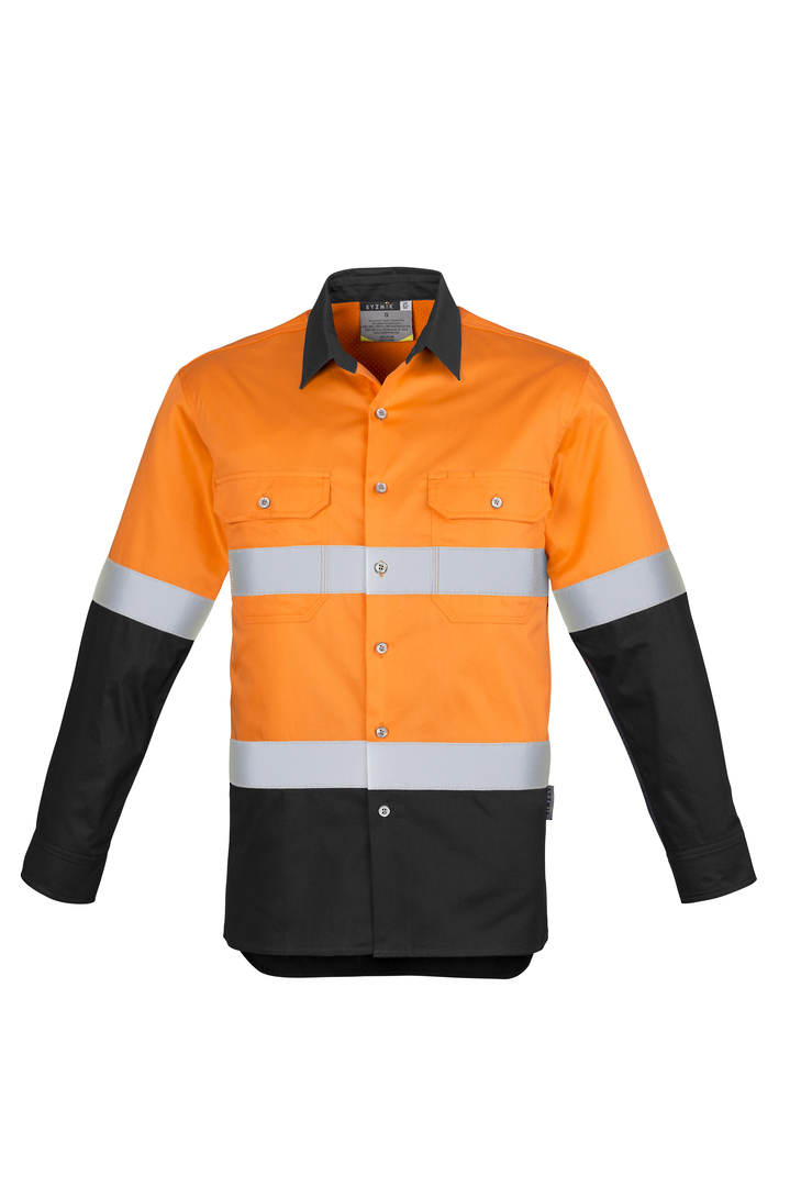 ZW123 Mens Hi Vis Spliced Industrial Shirt - Hoop Taped image 8