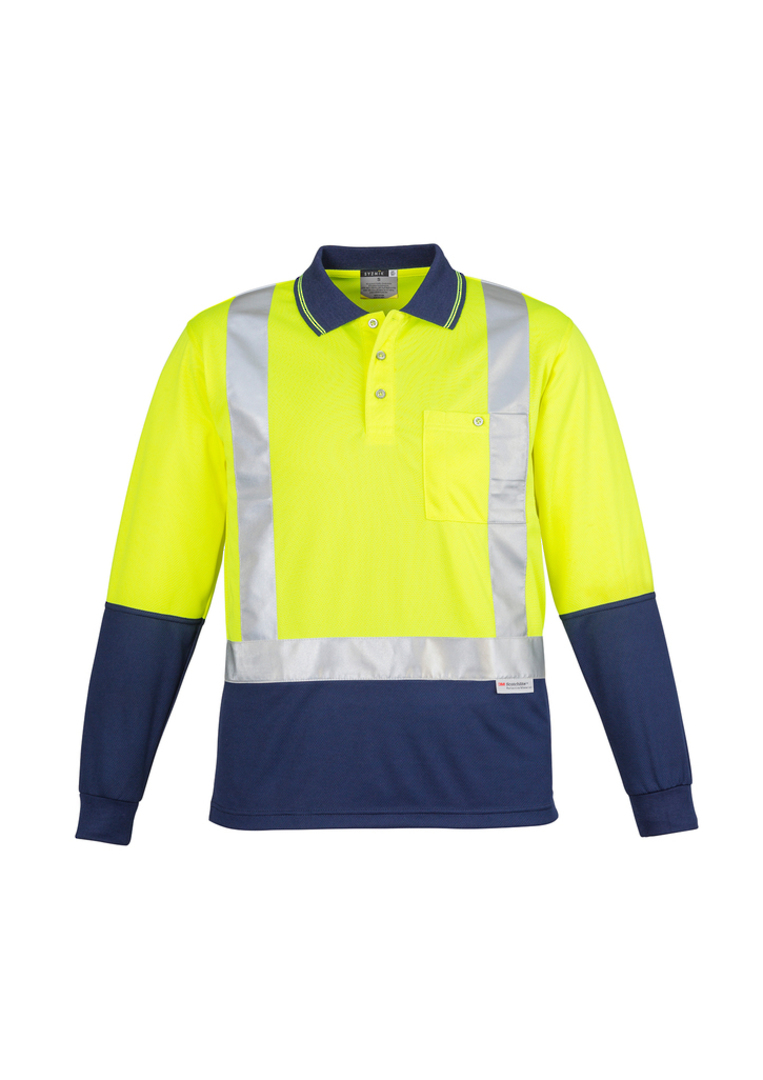 ZH234 Mens Hi Vis Spliced Polo - Long Sleeve image 3