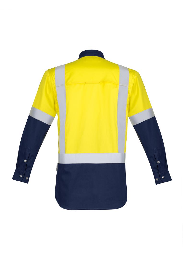 ZW124 Mens Hi Vis Spliced Industrial L/S Shirt - Shoulder Taped image 1