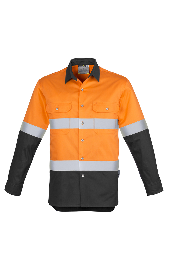 ZW123 Mens Hi Vis Spliced Industrial Shirt - Hoop Taped image 6