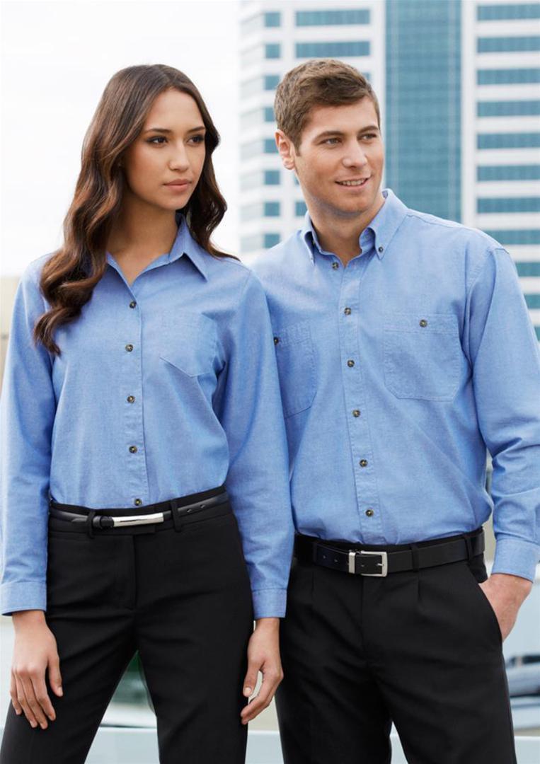 Ladies Wrinkle Free Chambray Long Sleeve Shirt image 0