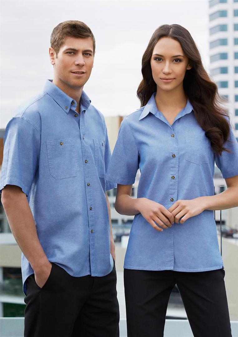 Mens Wrinkle Free Chambray Short Sleeve Shirt image 0