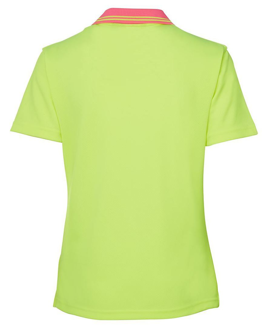 6HNB1 Hi Vis Ladies S/S Non Button Polo image 9