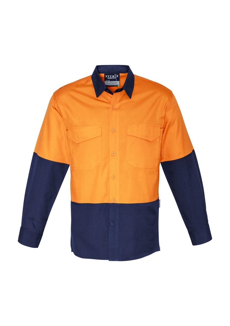 ZW128 Mens Rugged Cooling Hi Vis Spliced L/S Shirt image 4