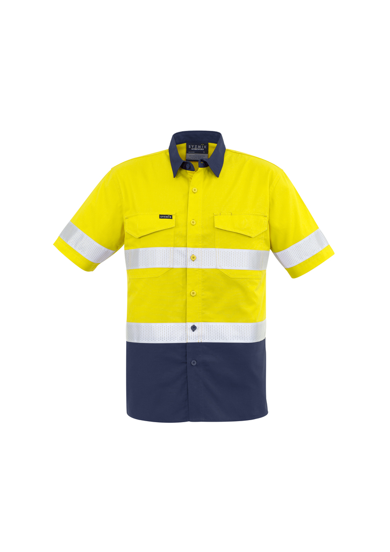 ZW835 Mens Rugged Cooling Taped Hi Vis Spliced S/S Shirt image 0