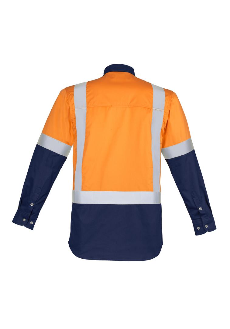 ZW124 Mens Hi Vis Spliced Industrial L/S Shirt - Shoulder Taped image 3