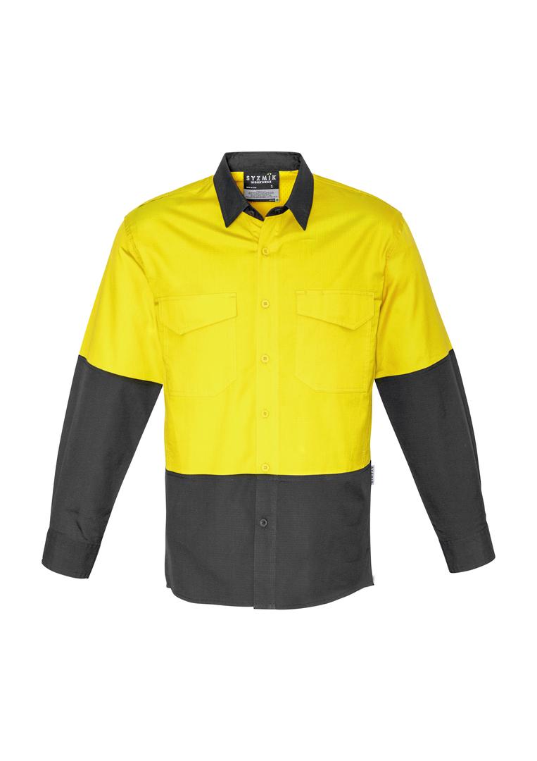 ZW128 Mens Rugged Cooling Hi Vis Spliced L/S Shirt image 2
