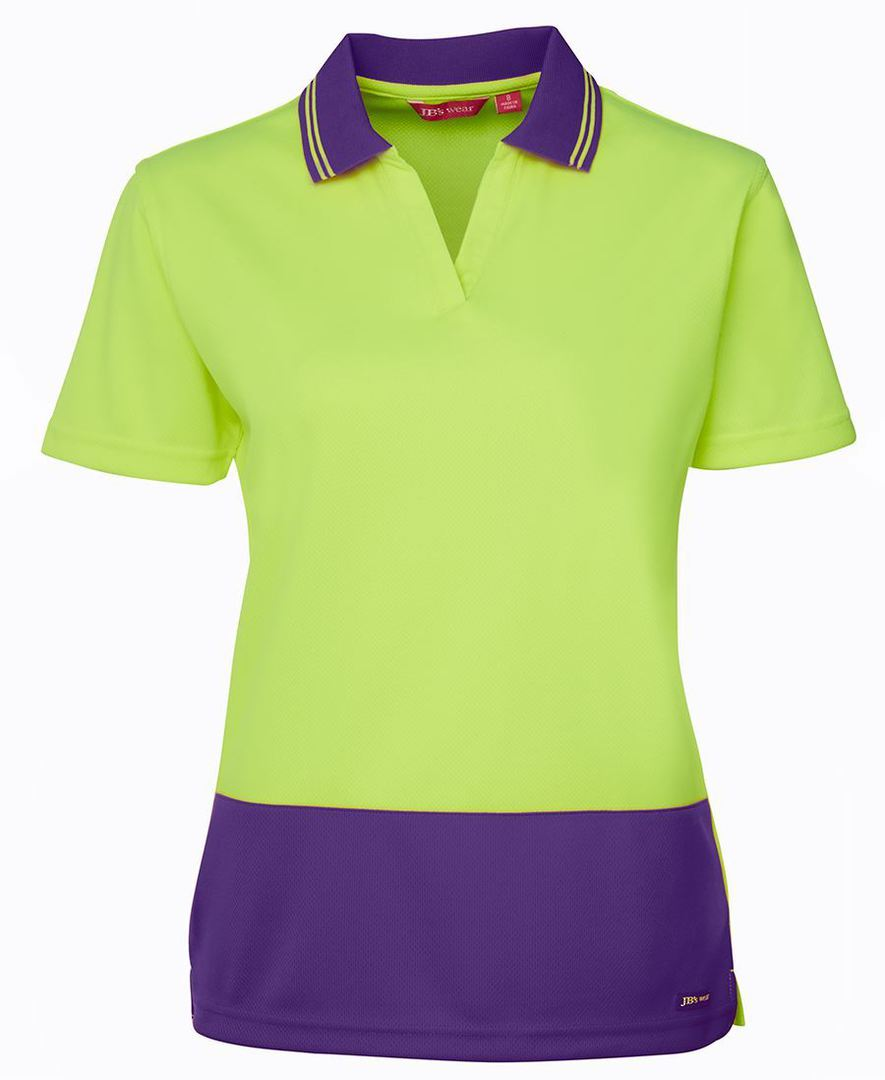 6HNB1 Hi Vis Ladies S/S Non Button Polo image 5