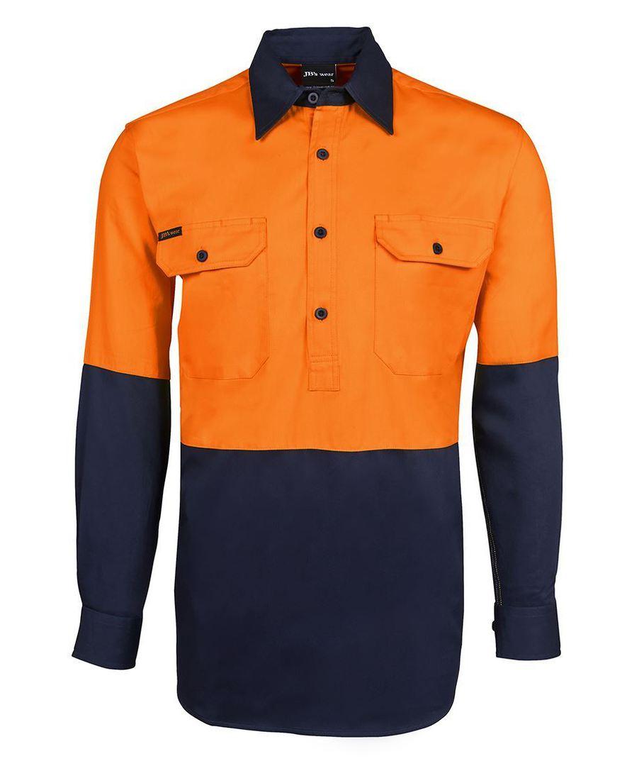 6HVCF Hi Vis L/S 190g Close Front Shirt image 4