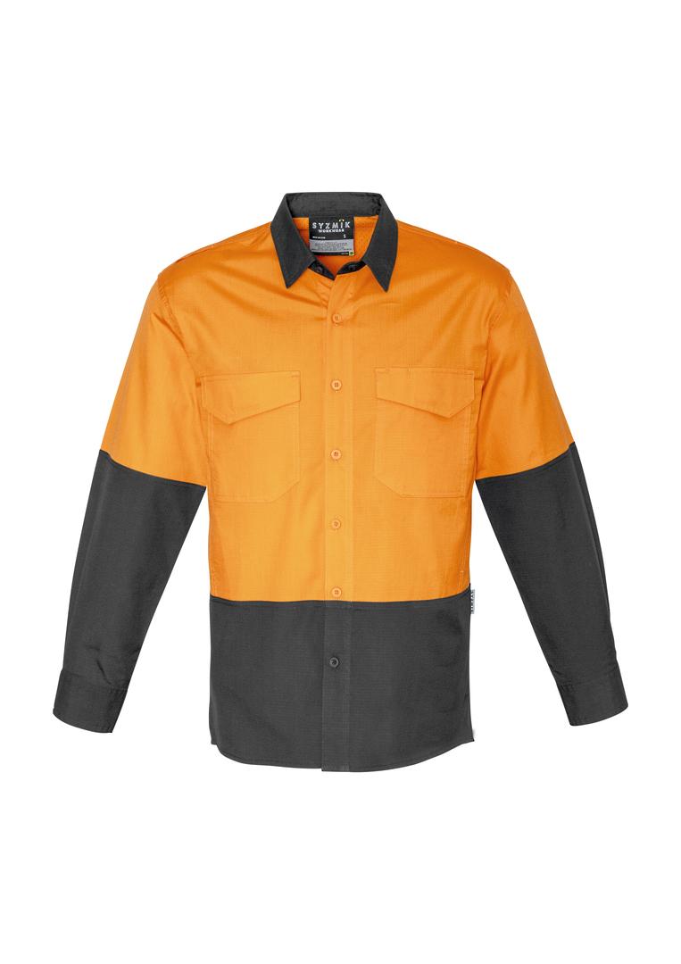 ZW128 Mens Rugged Cooling Hi Vis Spliced L/S Shirt image 6