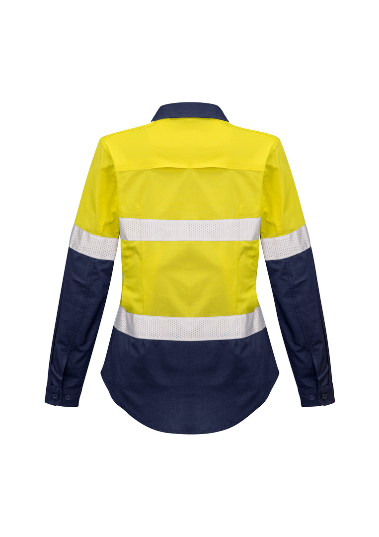 ZW720 Womens Rugged Cooling Taped Hi Vis Spliced L/S Shirt image 1