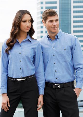 Mens Wrinkle Free Chambray Long Sleeve Shirt image 0