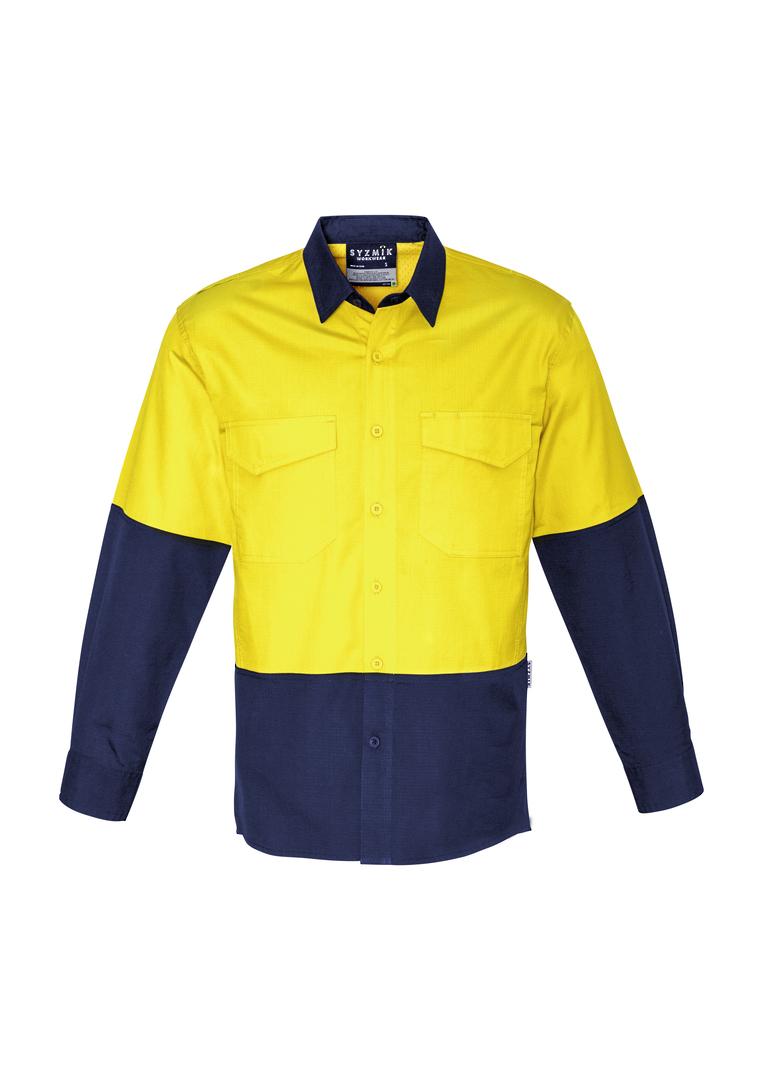 ZW128 Mens Rugged Cooling Hi Vis Spliced L/S Shirt image 0