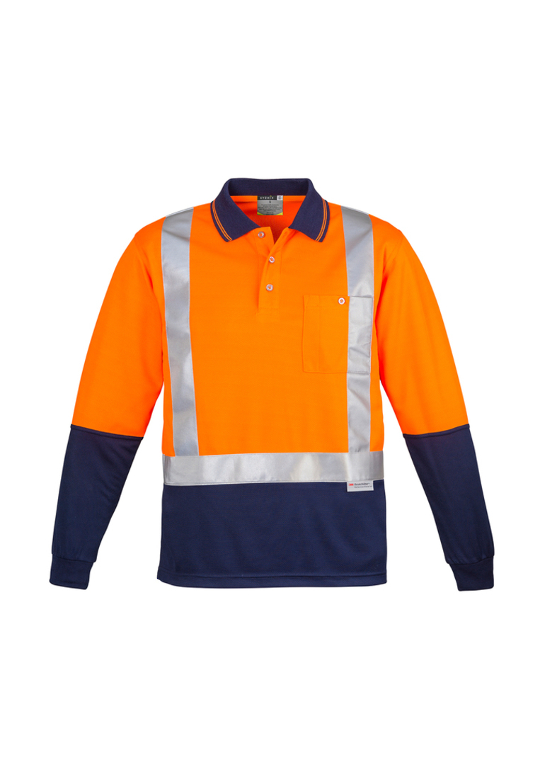 ZH234 Mens Hi Vis Spliced Polo - Long Sleeve image 1