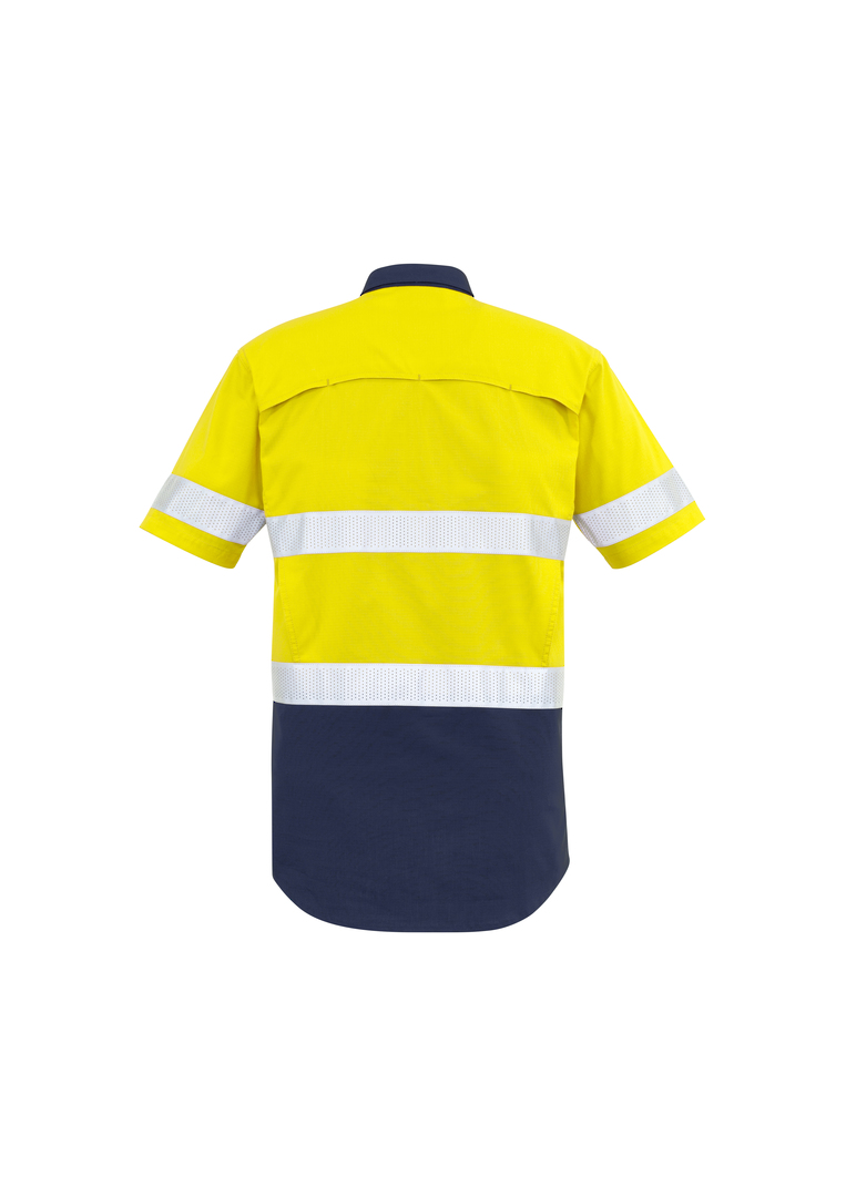 ZW835 Mens Rugged Cooling Taped Hi Vis Spliced S/S Shirt image 1