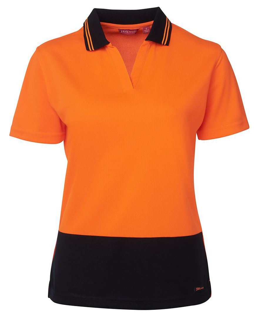 6HNB1 Hi Vis Ladies S/S Non Button Polo image 7
