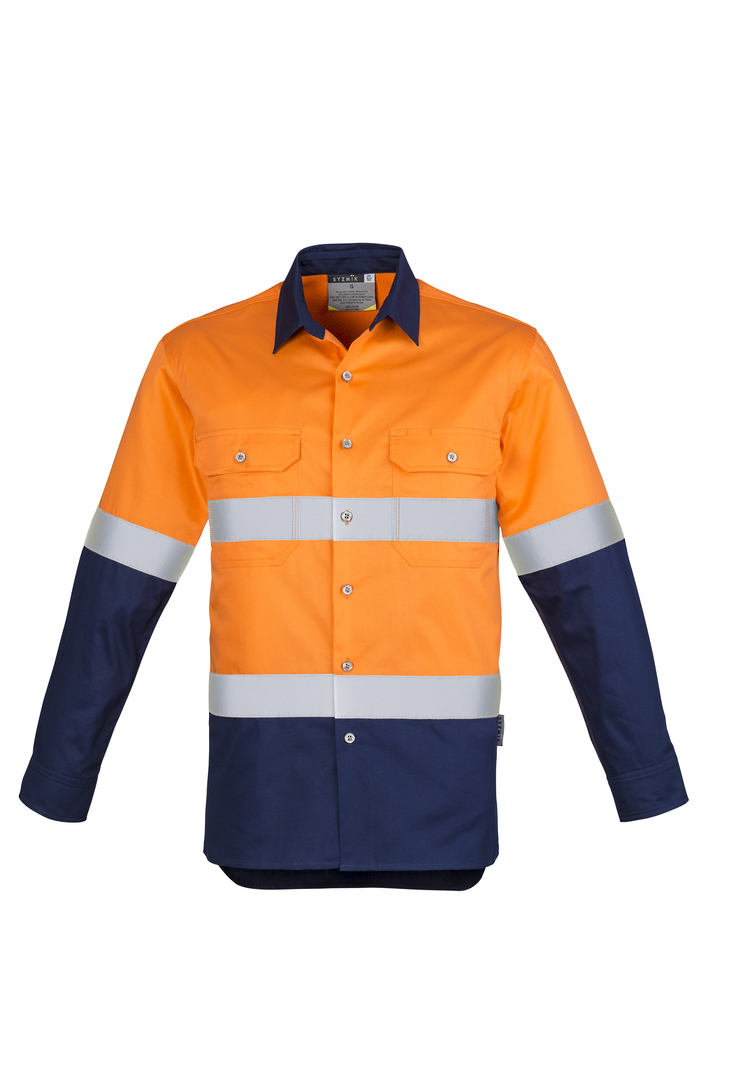 ZW123 Mens Hi Vis Spliced Industrial Shirt - Hoop Taped image 4