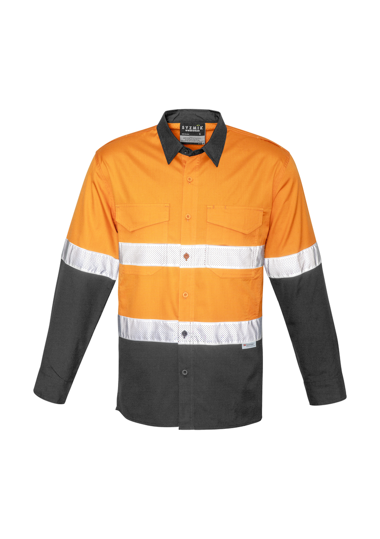 ZW129 Mens Rugged Cooling Taped Hi Vis Spliced Shirt image 2