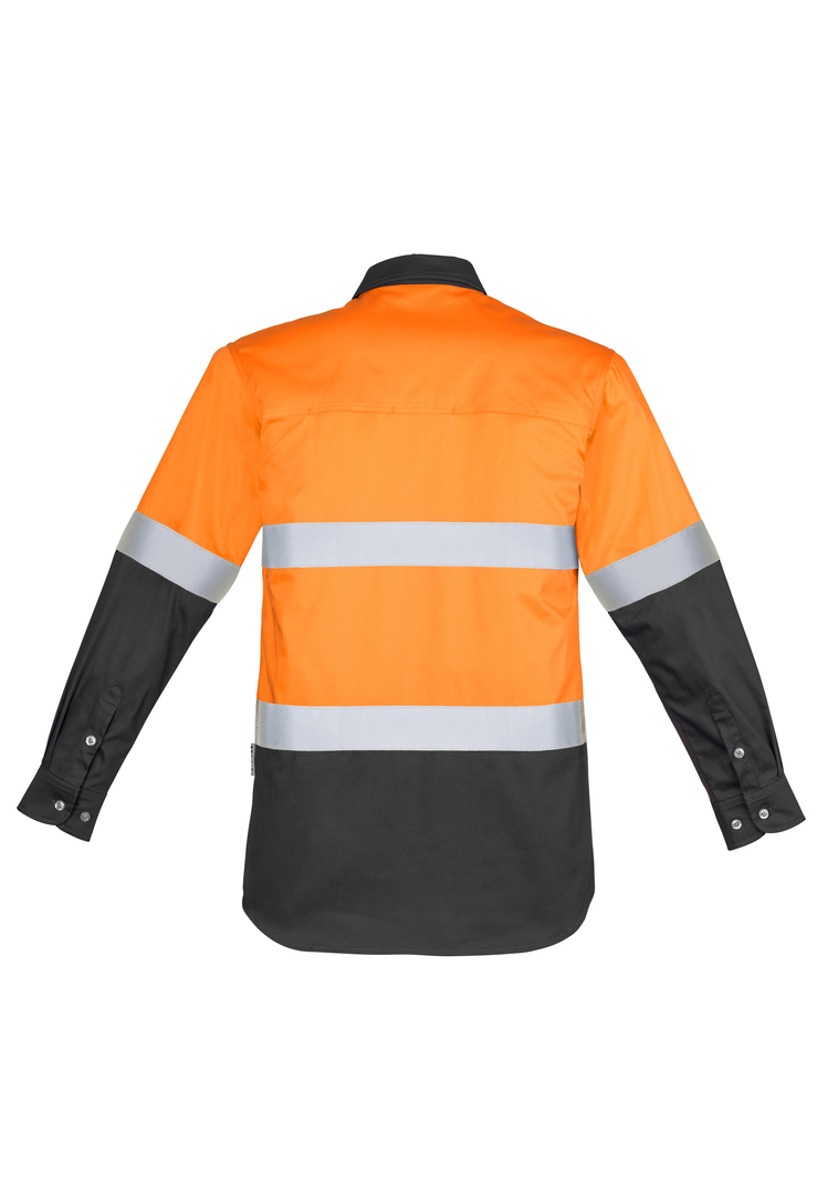 ZW123 Mens Hi Vis Spliced Industrial Shirt - Hoop Taped image 7