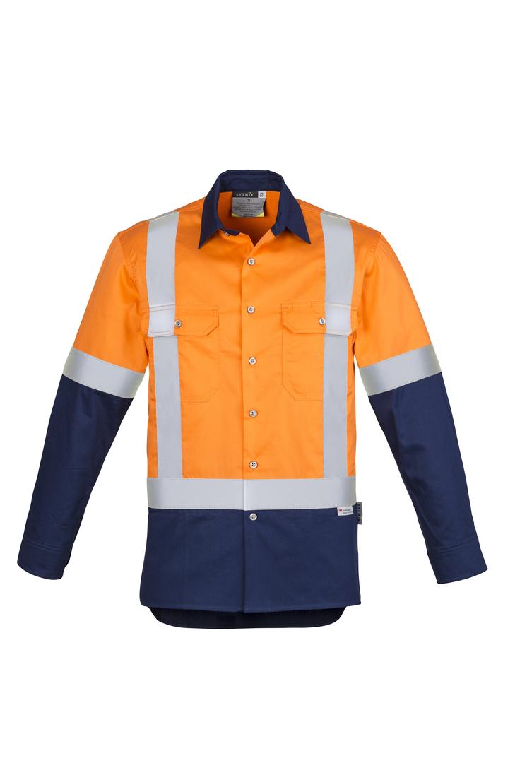ZW124 Mens Hi Vis Spliced Industrial L/S Shirt - Shoulder Taped image 2