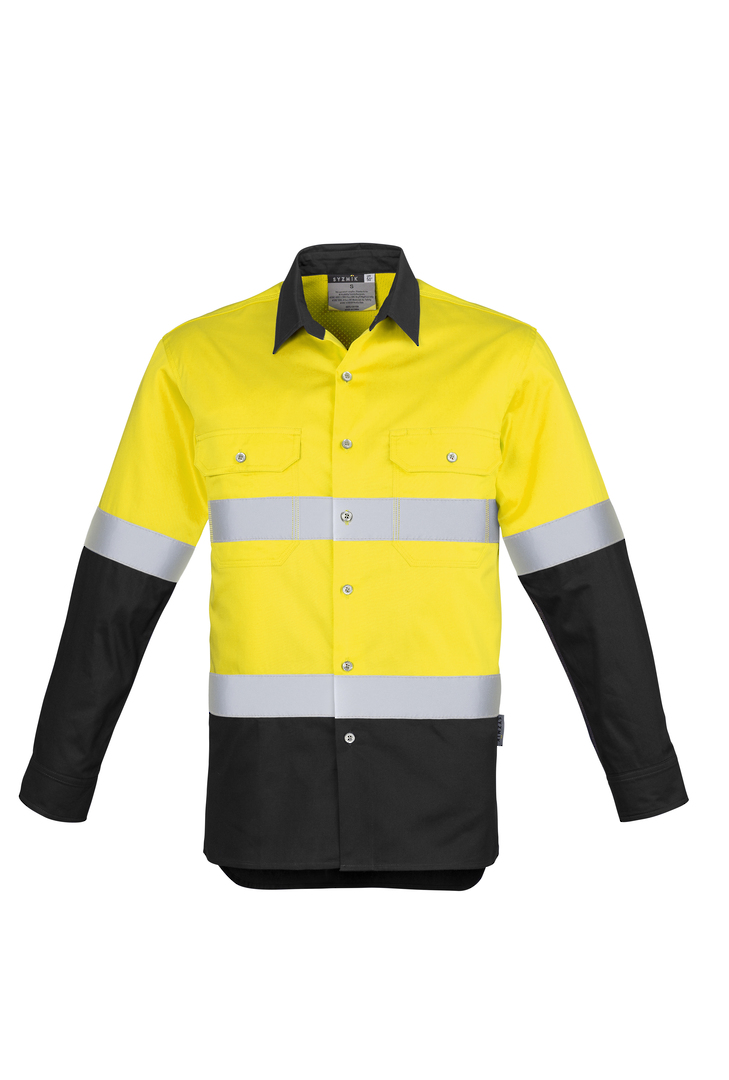 ZW123 Mens Hi Vis Spliced Industrial Shirt - Hoop Taped image 2