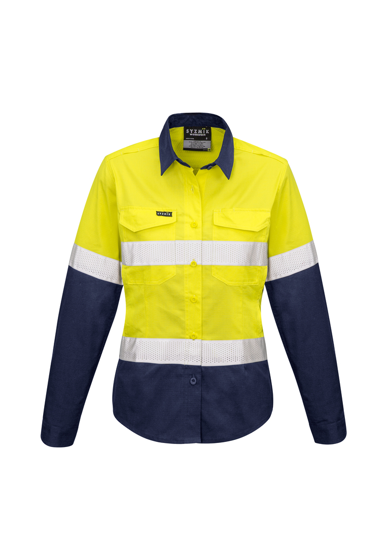 ZW720 Womens Rugged Cooling Taped Hi Vis Spliced L/S Shirt image 0