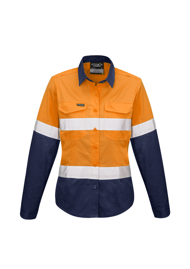 ZW720 Womens Rugged Cooling Taped Hi Vis Spliced L/S Shirt image 2