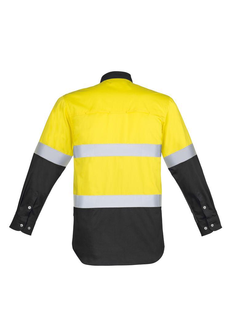 ZW123 Mens Hi Vis Spliced Industrial Shirt - Hoop Taped image 1