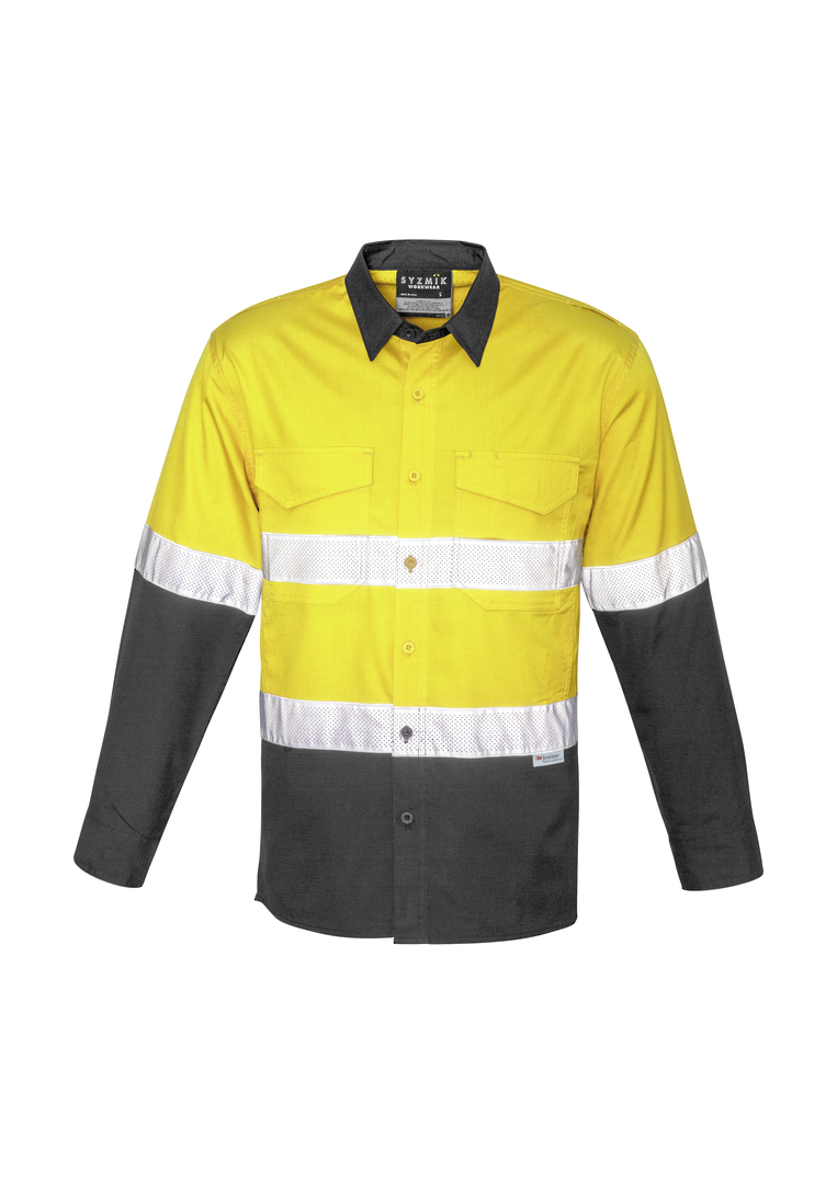 ZW129 Mens Rugged Cooling Taped Hi Vis Spliced Shirt image 0