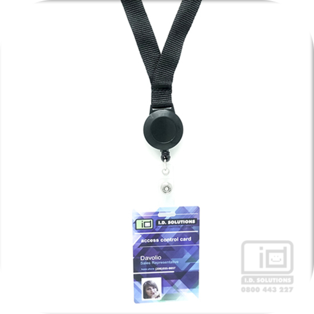 Black Flat Lan with Retractable - 15mm wide image 0