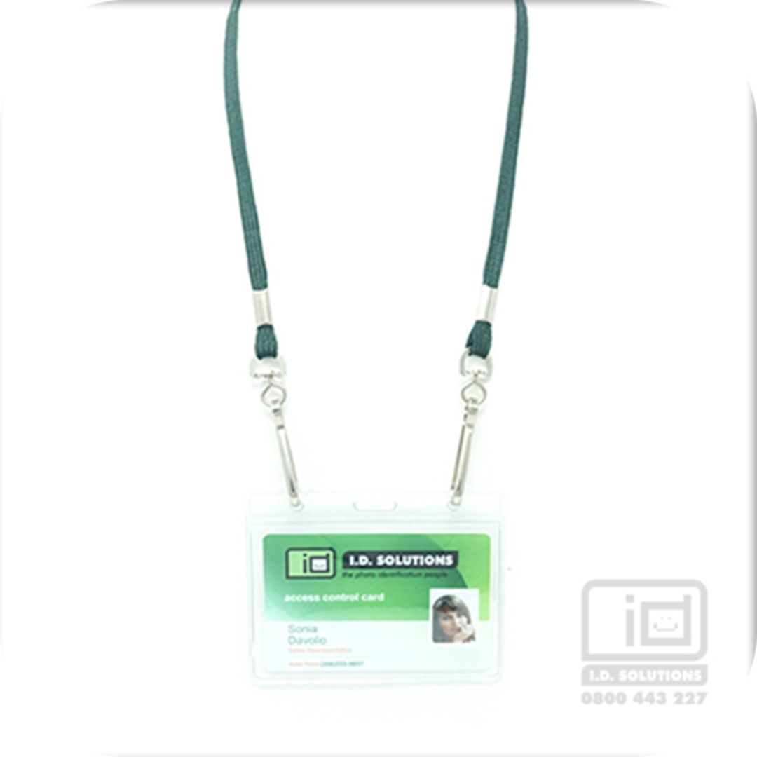 Forest Green Tube Lan with 2 Swivel Hooks - 8mm wide image 0