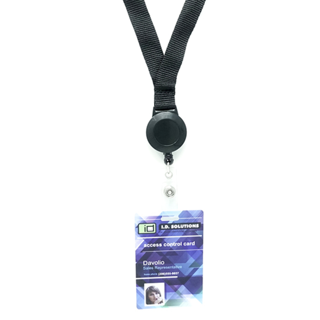 Black Flat Lan with Retractable - 15mm wide image 1