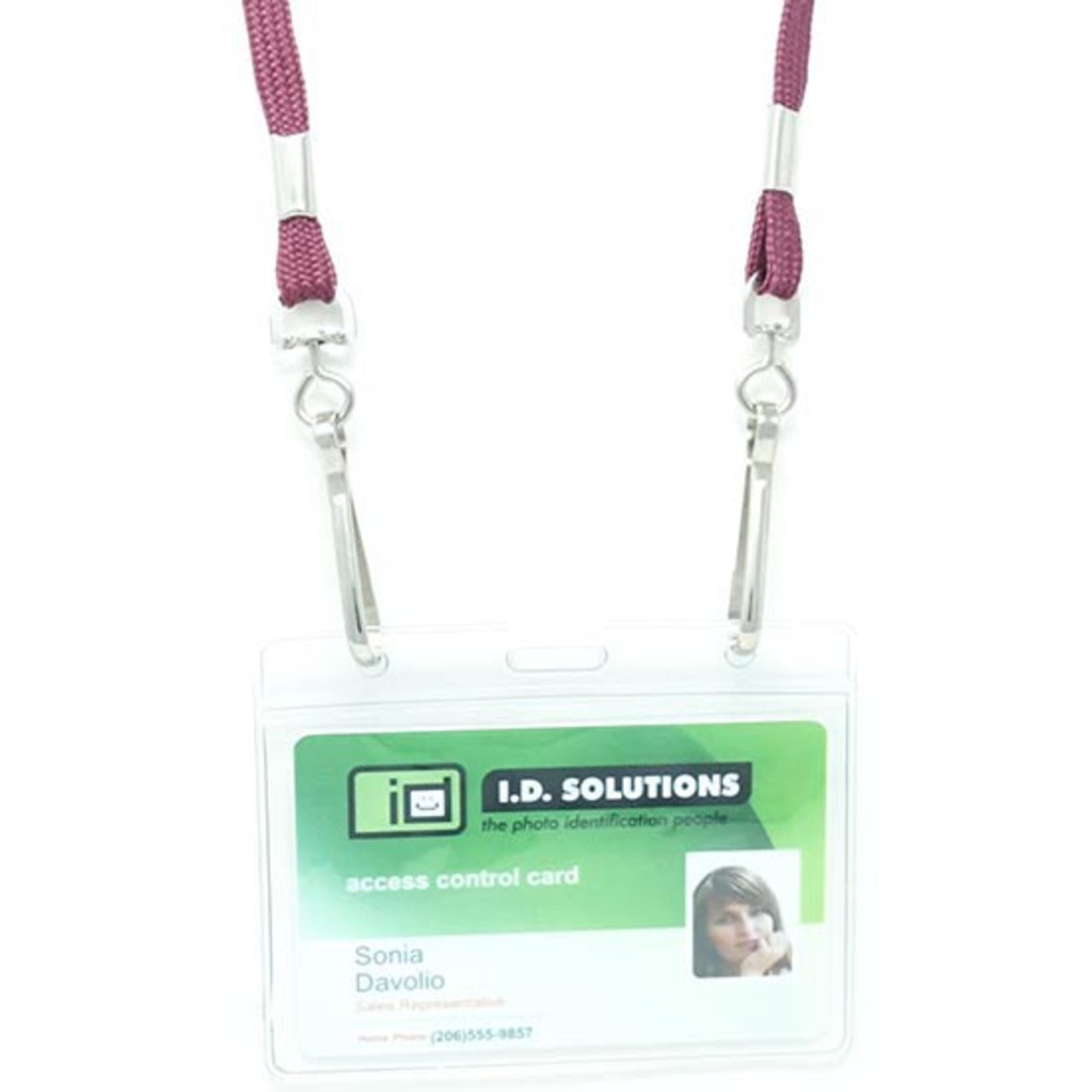 Maroon Tube Lan with 2 Swivel Hooks - 8mm wide image 1