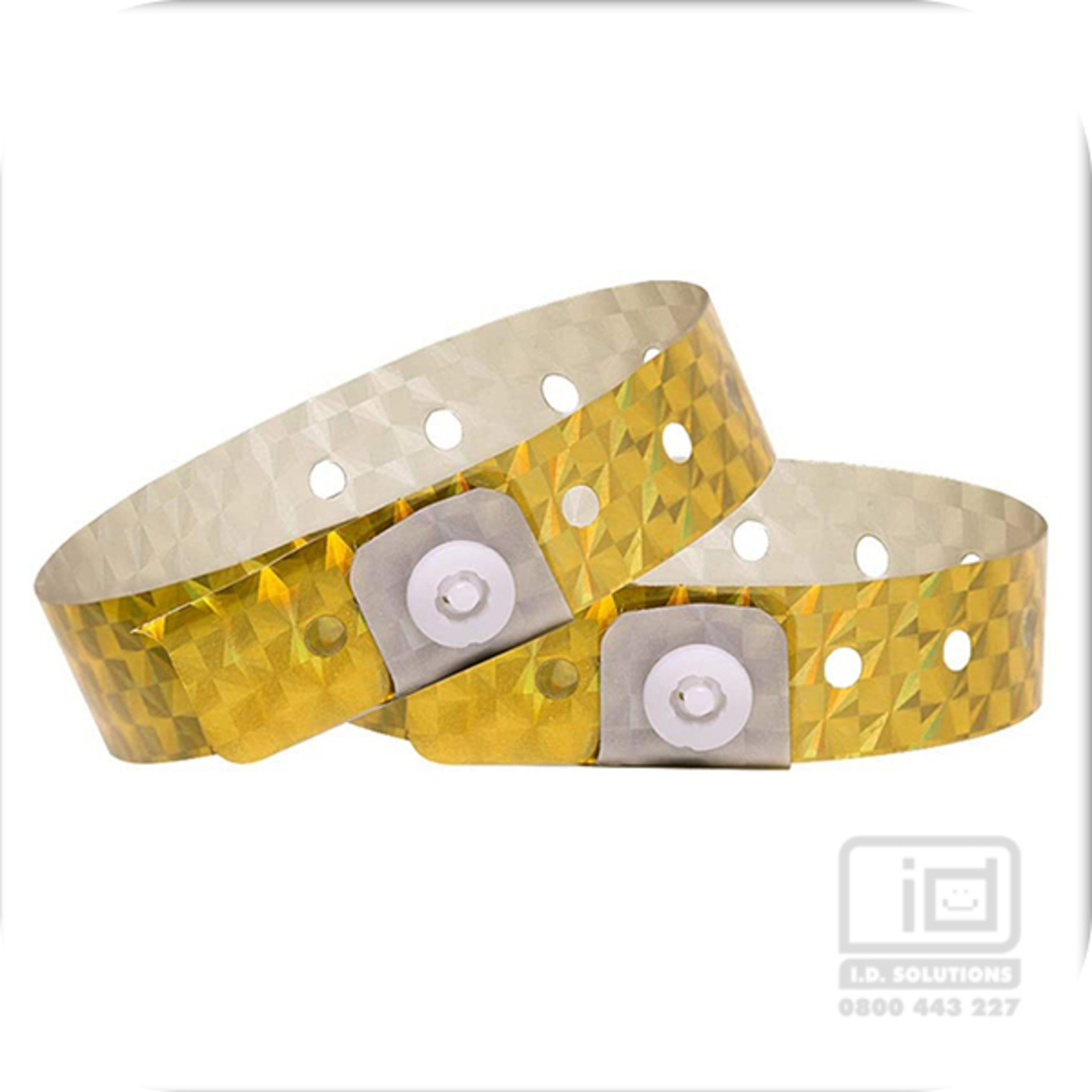 Holograpic Gold L shaped wristbands image 0