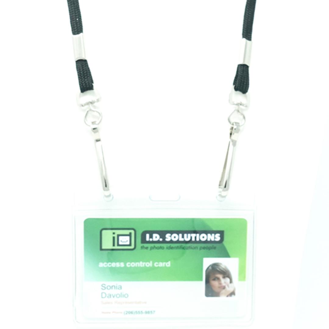 Black Tube Lan with 2 Swivel Hooks - 8mm wide image 1