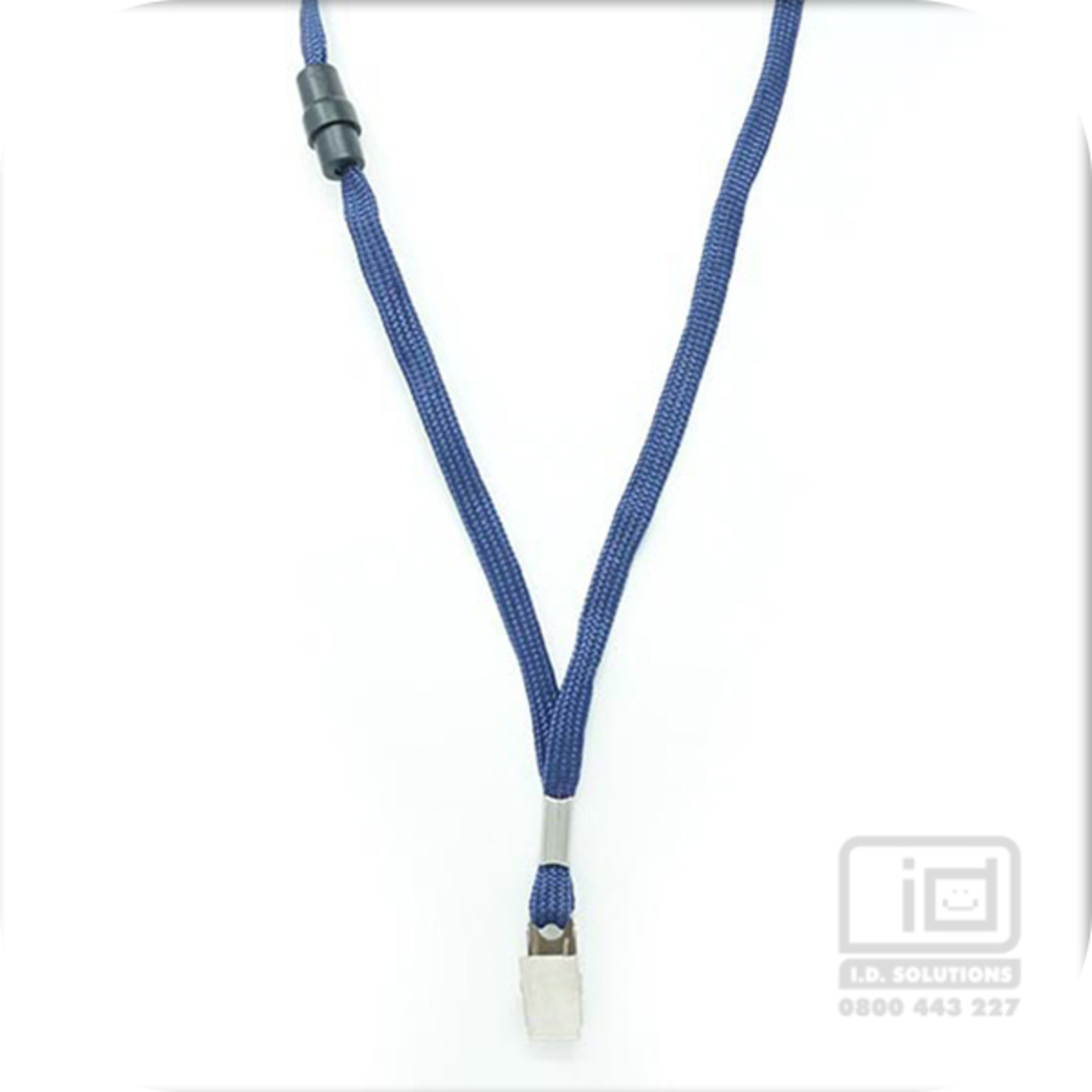 Navy Blue Tube Lan with BRKWY Bulldog Clip - 8mm wide image 0