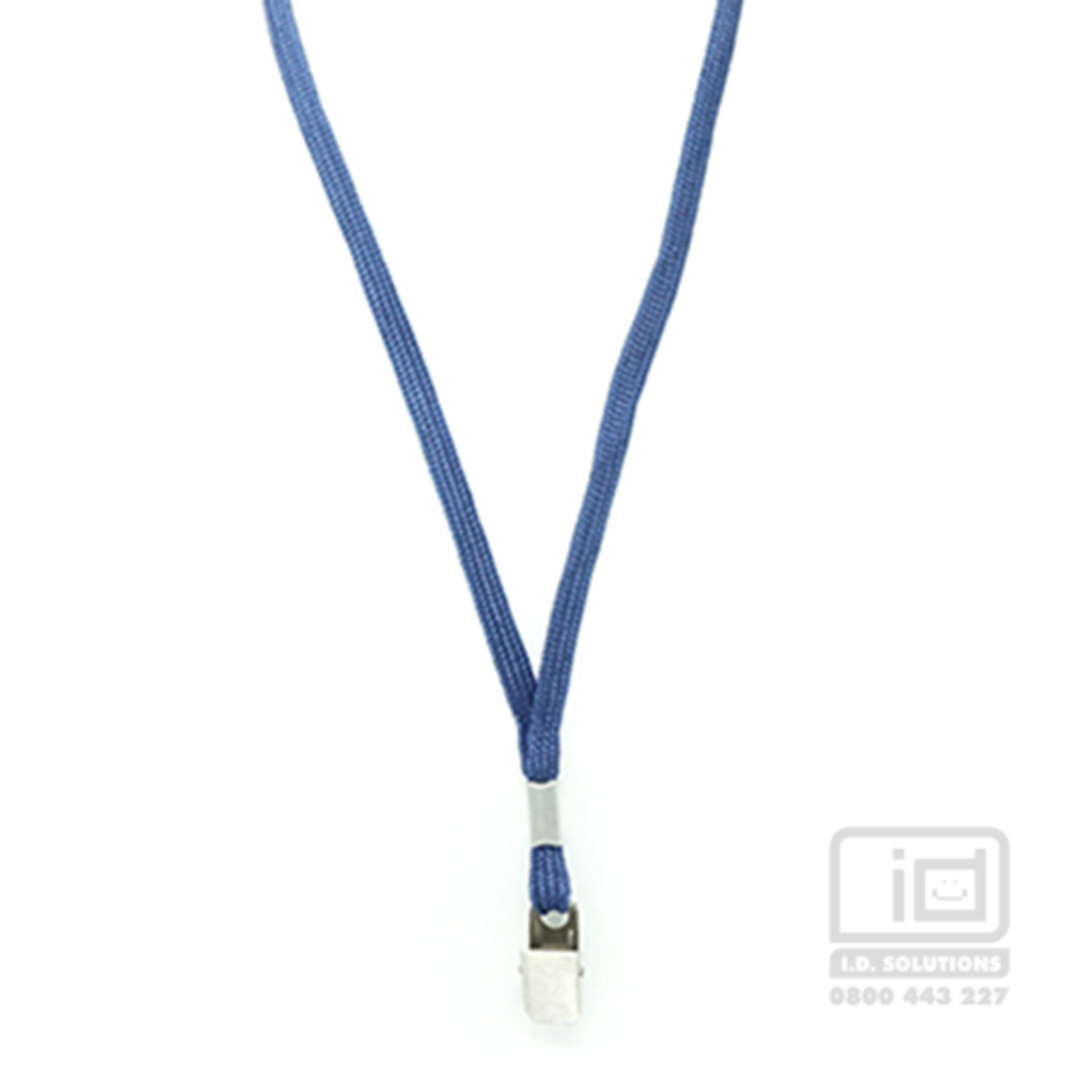 Navy Blue Tube Lan with Bulldog Clip - 8mm wide image 0