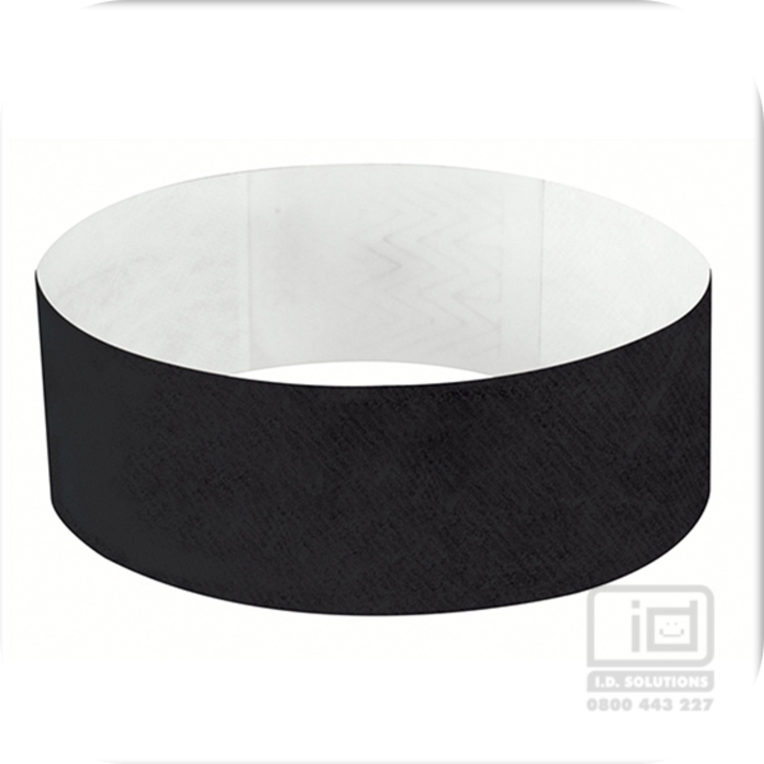 25mm Tyvek Wristband Black image 0