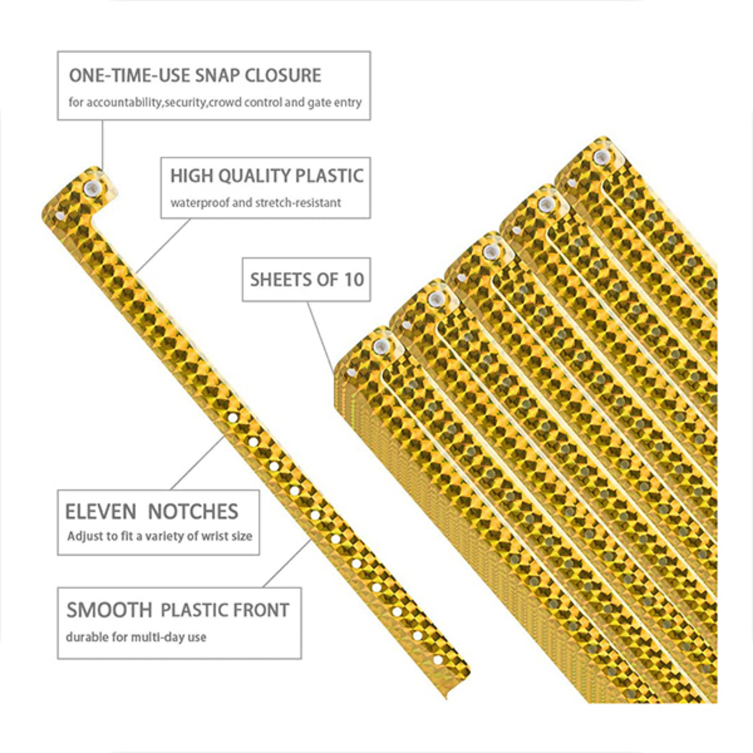Holograpic Gold L shaped wristbands image 1