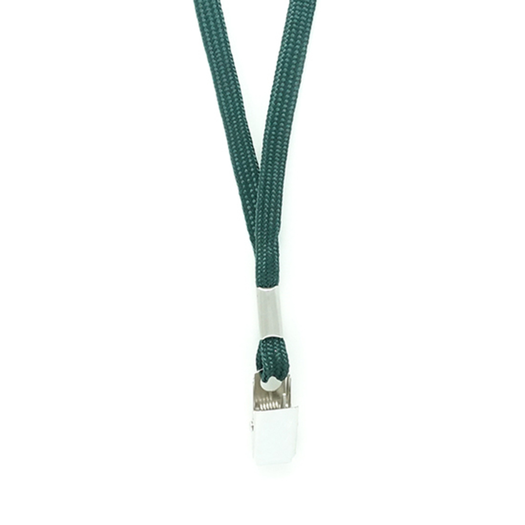 Forest Green Tube Lan with Bulldog Clip - 8mm wide image 1